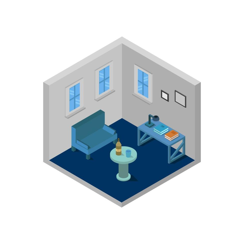 sala de estar isométrica sobre fondo blanco vector