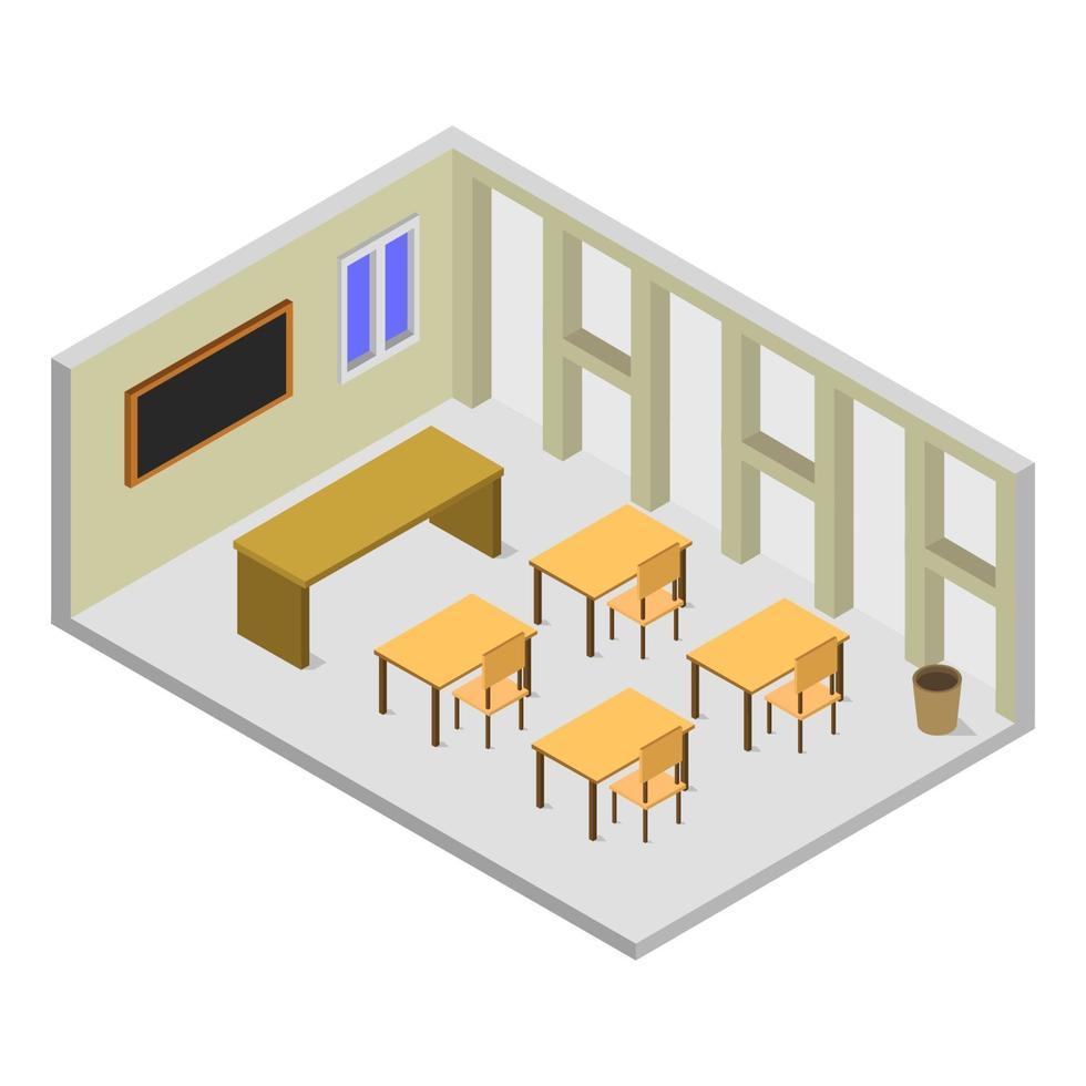 Sala de la universidad isométrica sobre fondo blanco. vector
