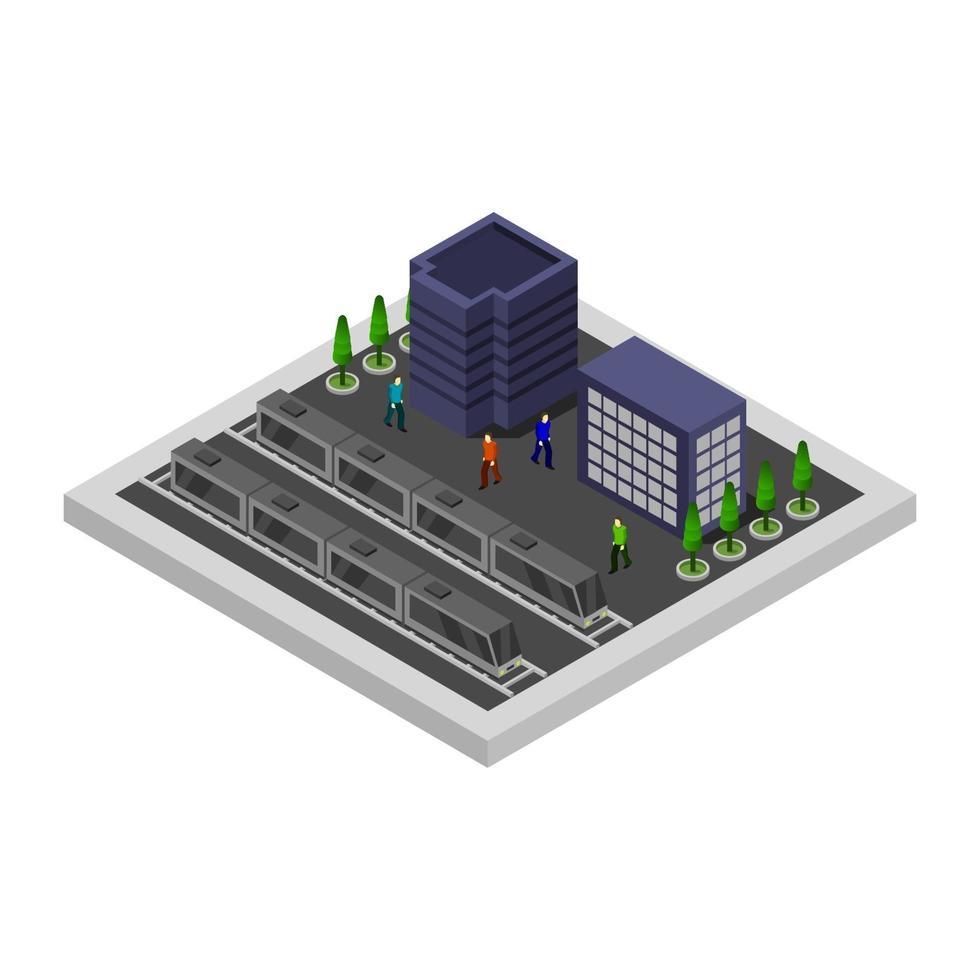estación de tren isométrica sobre fondo blanco vector