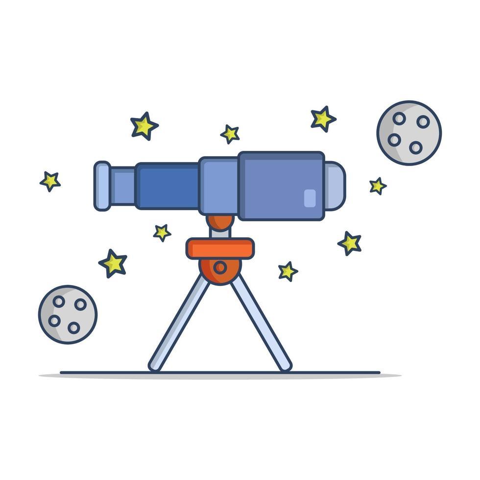 telescopio sobre fondo blanco vector