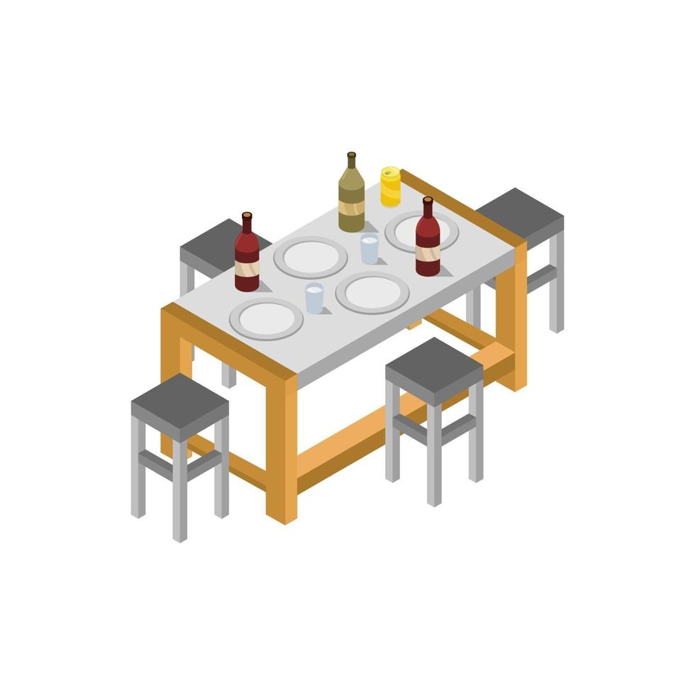 Isometric Kitchen Table On White Background vector