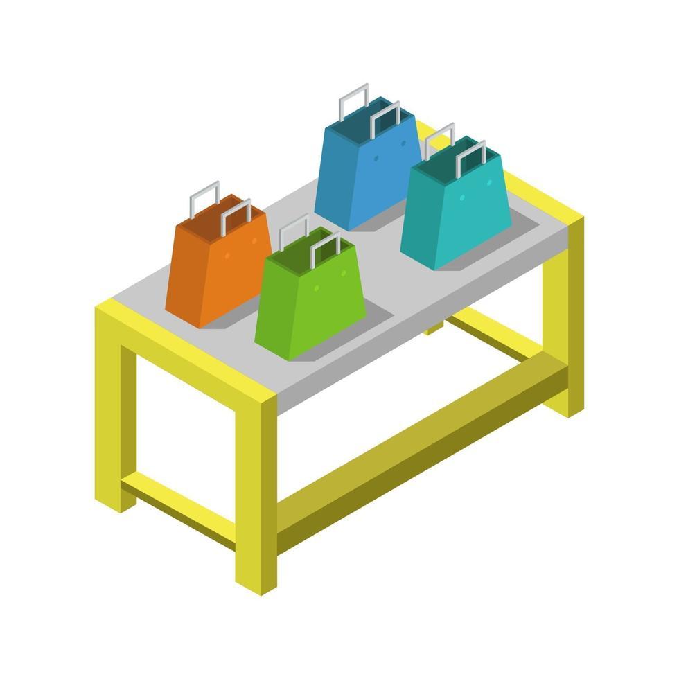 Bolsas de compras en mesa isométrica sobre fondo blanco. vector