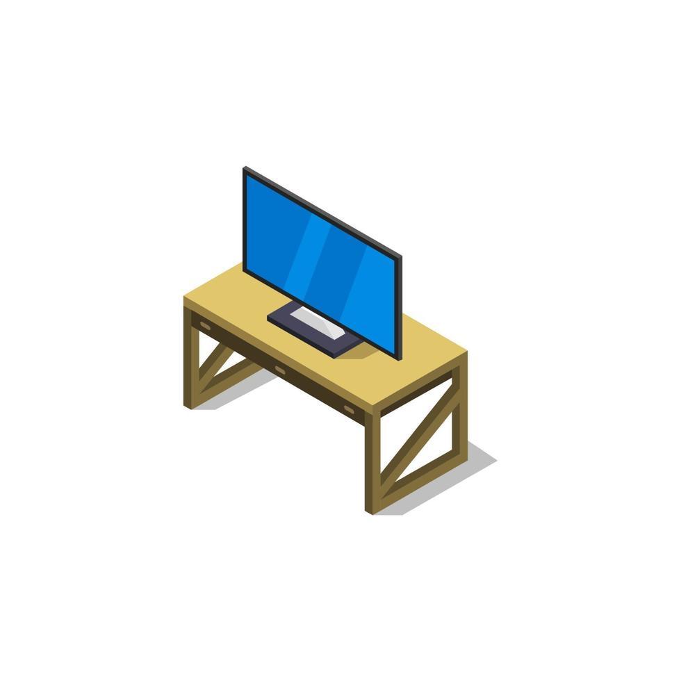 Mesa con televisión isométrica sobre fondo blanco. vector