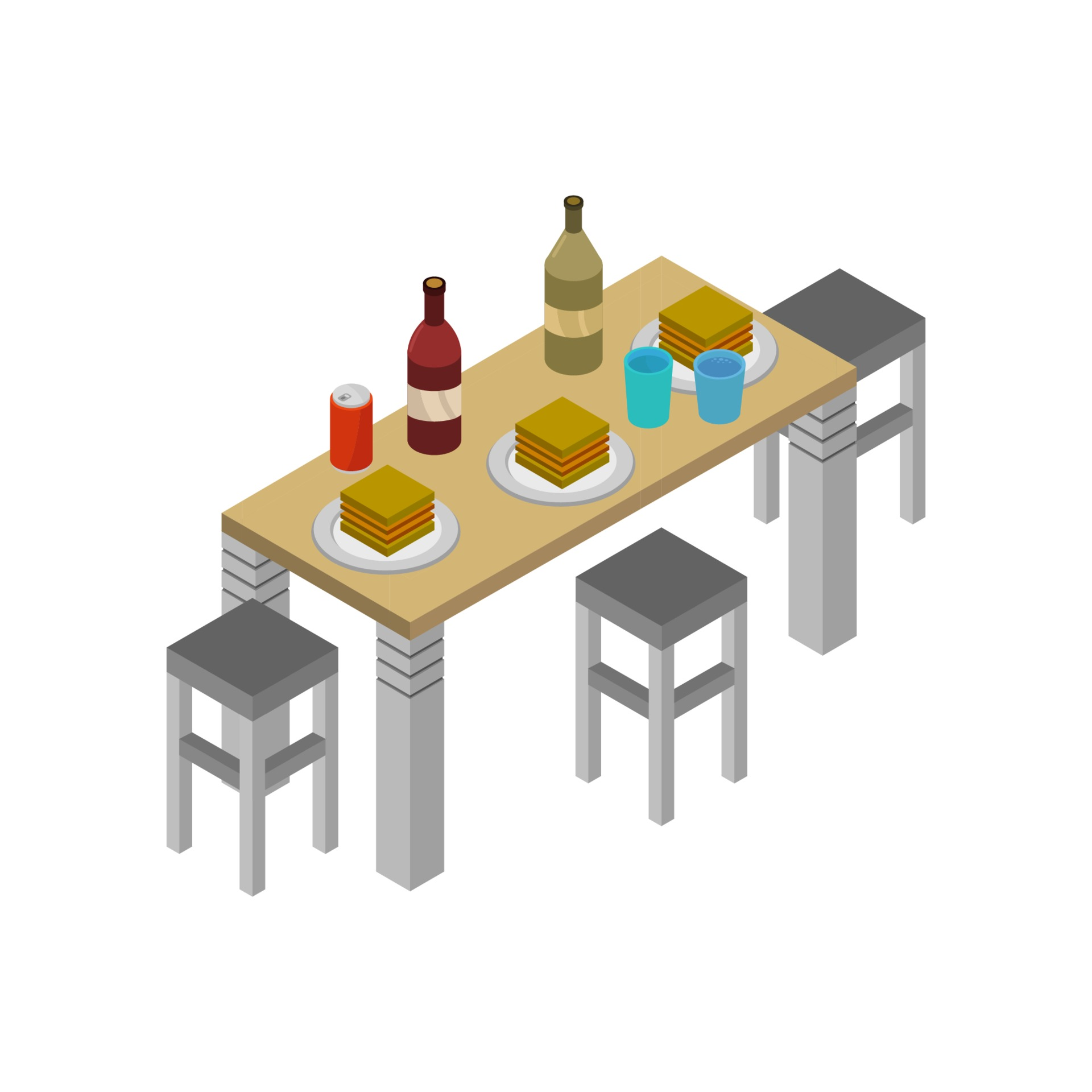 Isometric Kitchen Table On White Background 9 Vector Art at ...