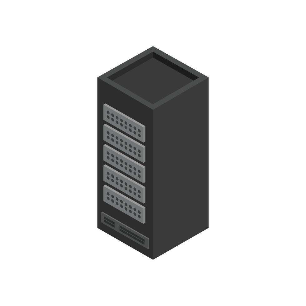 servidor isométrico ilustrado sobre fondo blanco vector