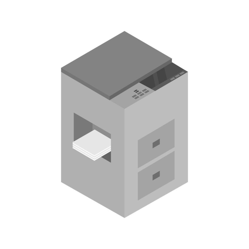 Fotocopiadora isométrica ilustrada sobre fondo blanco. vector