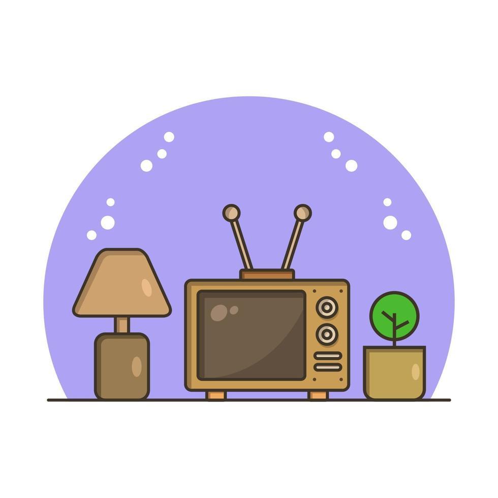 televisión ilustrada sobre fondo blanco vector
