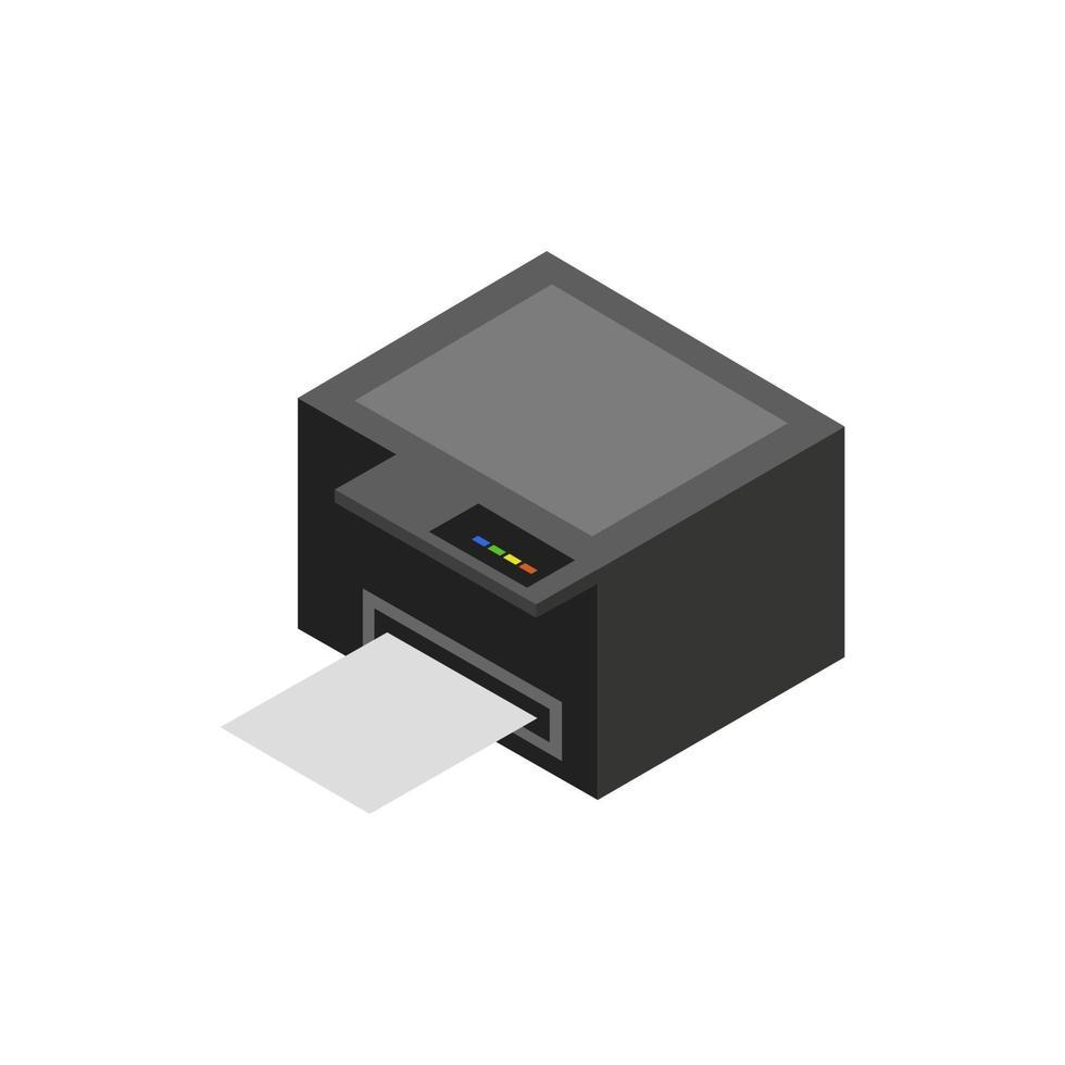 Impresora isométrica ilustrada sobre fondo blanco. vector