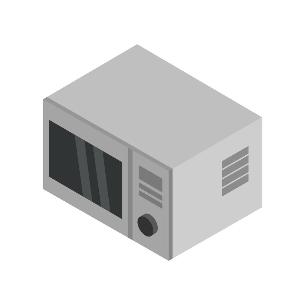 Horno de microondas isométrico ilustrado sobre fondo blanco. vector