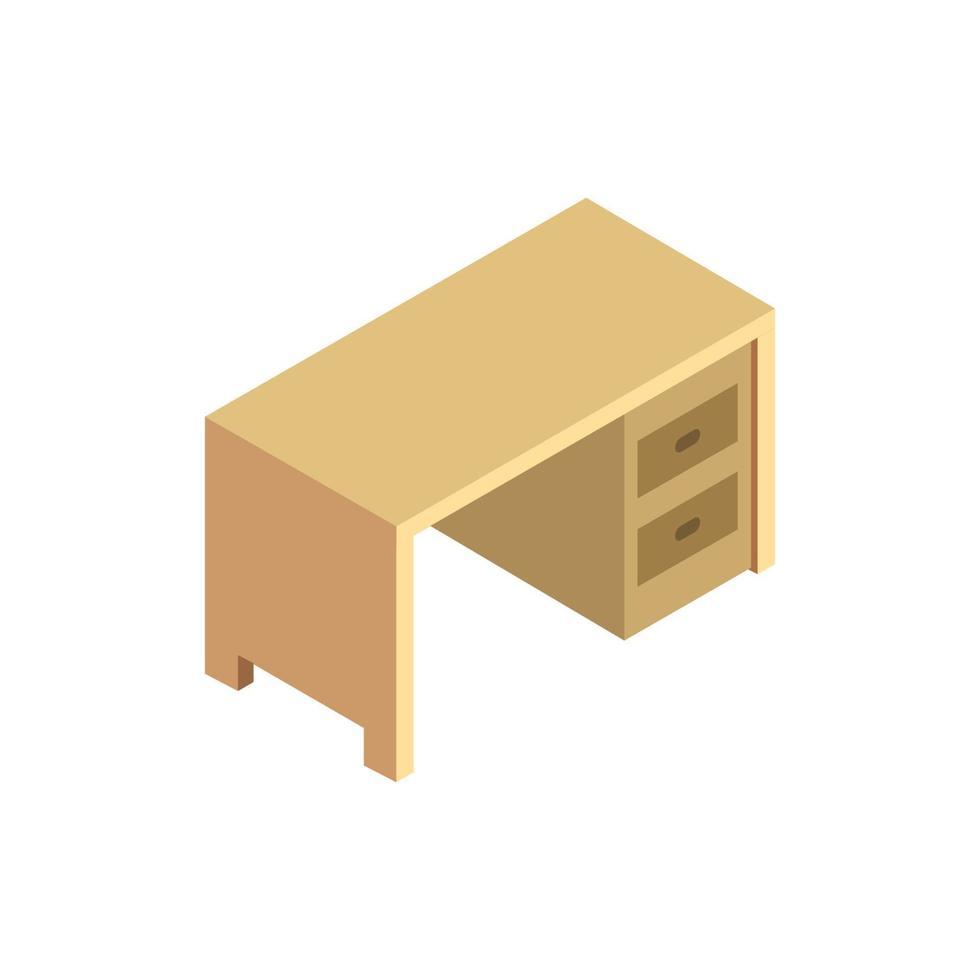 escritorio isométrico ilustrado sobre fondo blanco vector