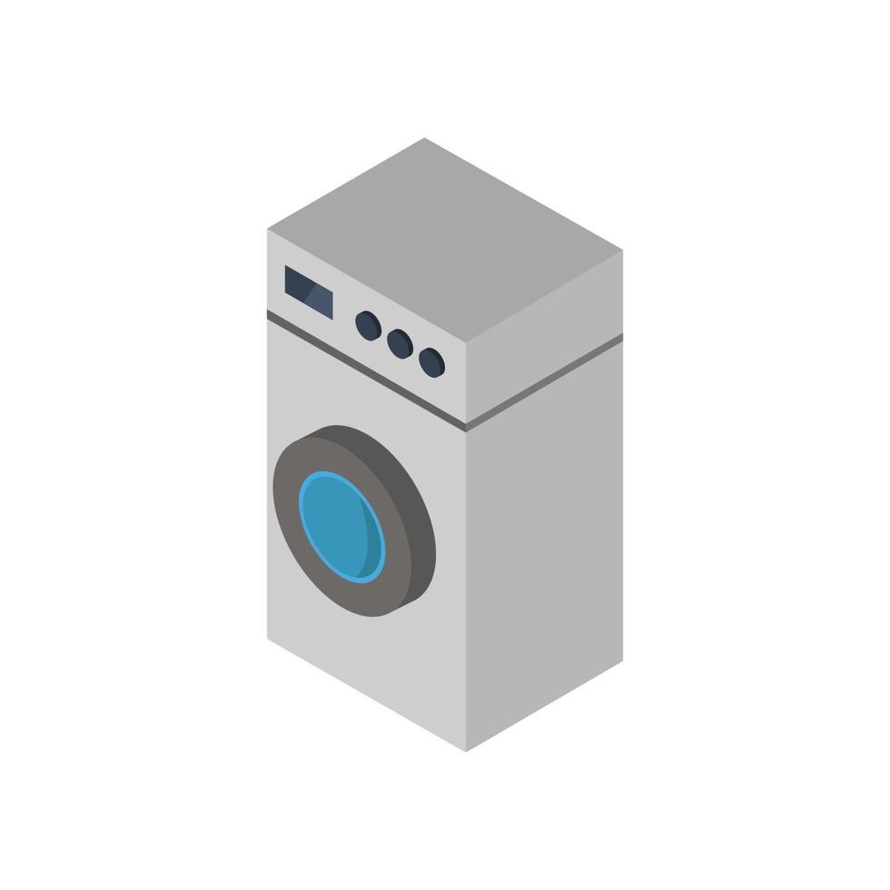 Lavadora isométrica ilustrada sobre fondo blanco. vector