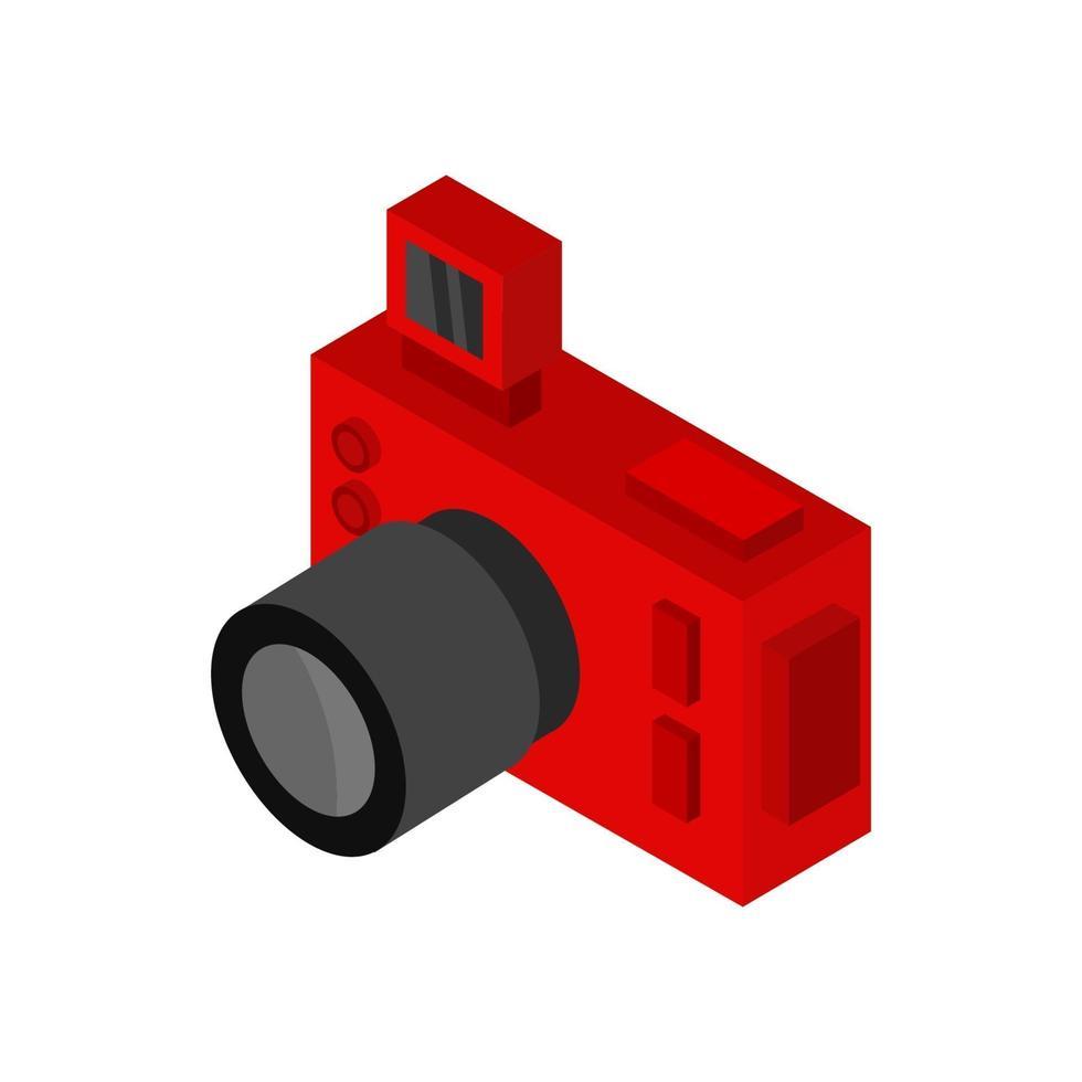 cámara isométrica ilustrada sobre fondo blanco vector