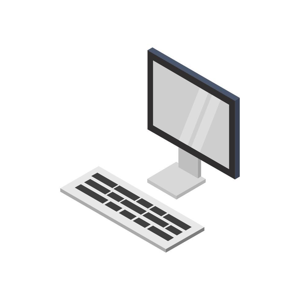 computadora isométrica ilustrada sobre fondo blanco vector