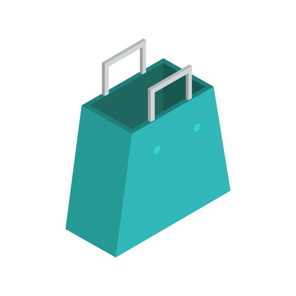 bolsa de compras isométrica ilustrada sobre fondo blanco vector