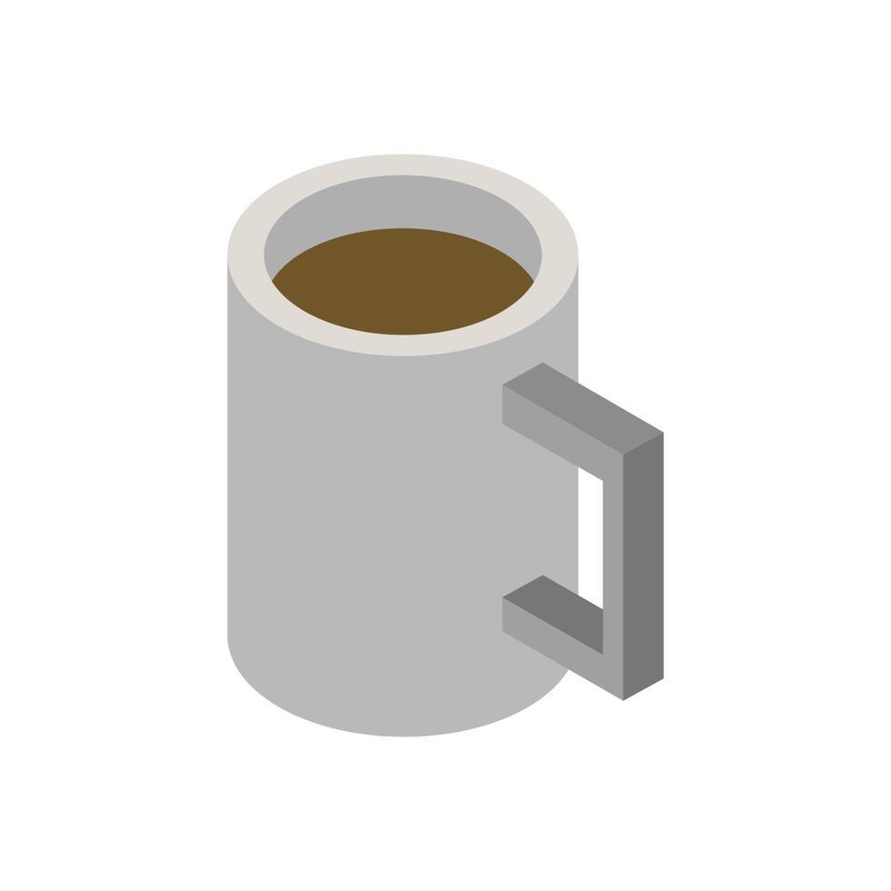 Taza de café isométrica sobre fondo blanco. vector