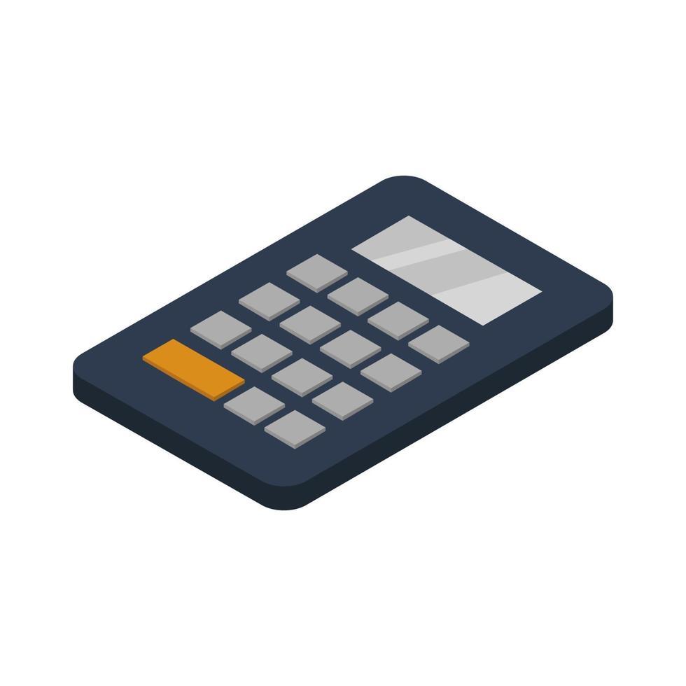 calculadora isométrica ilustrada sobre fondo blanco vector