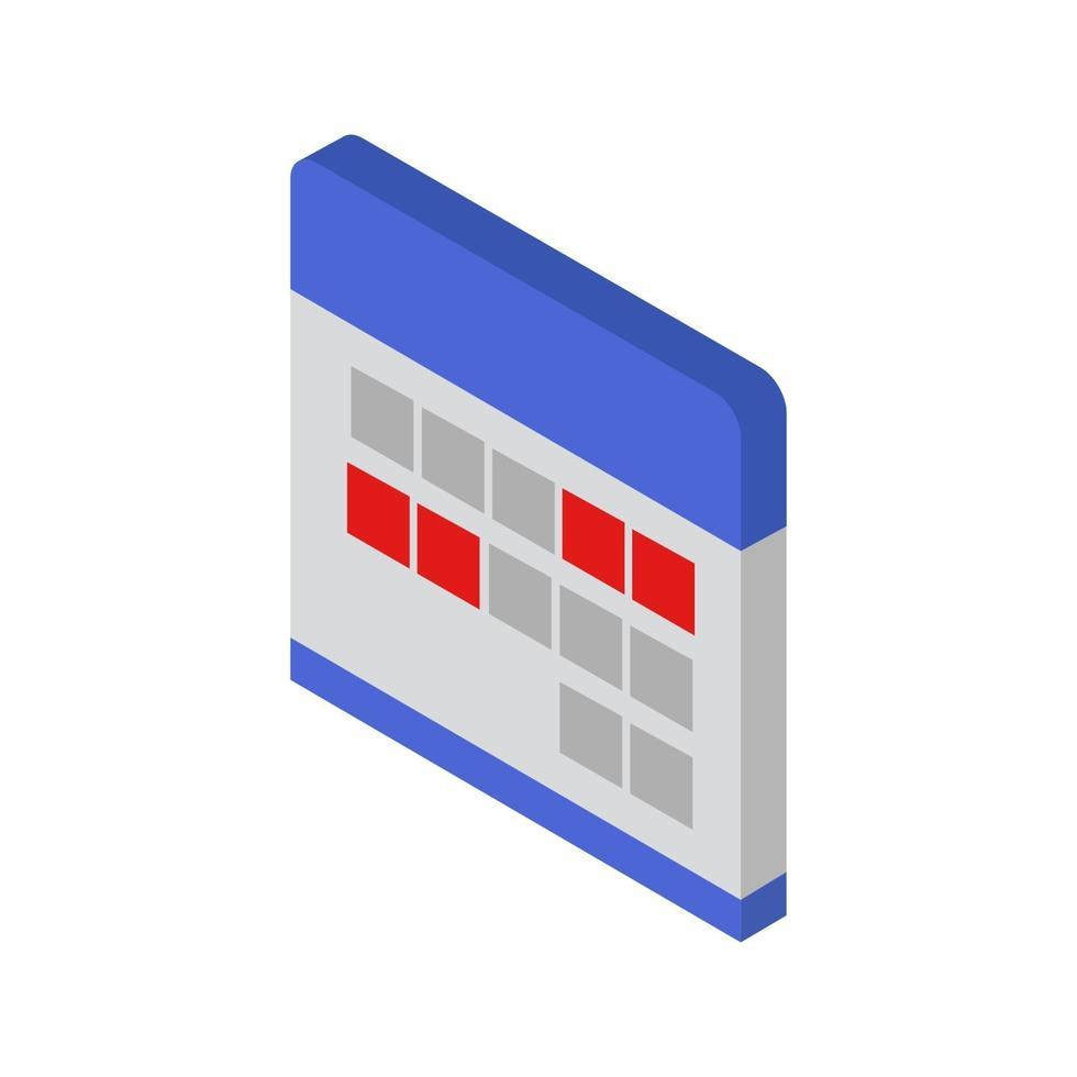calendario isométrico ilustrado sobre fondo blanco vector