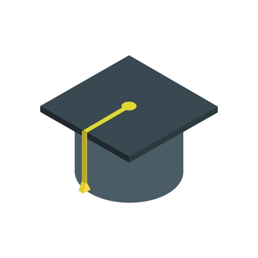 sombrero de graduación isométrica sobre fondo blanco vector
