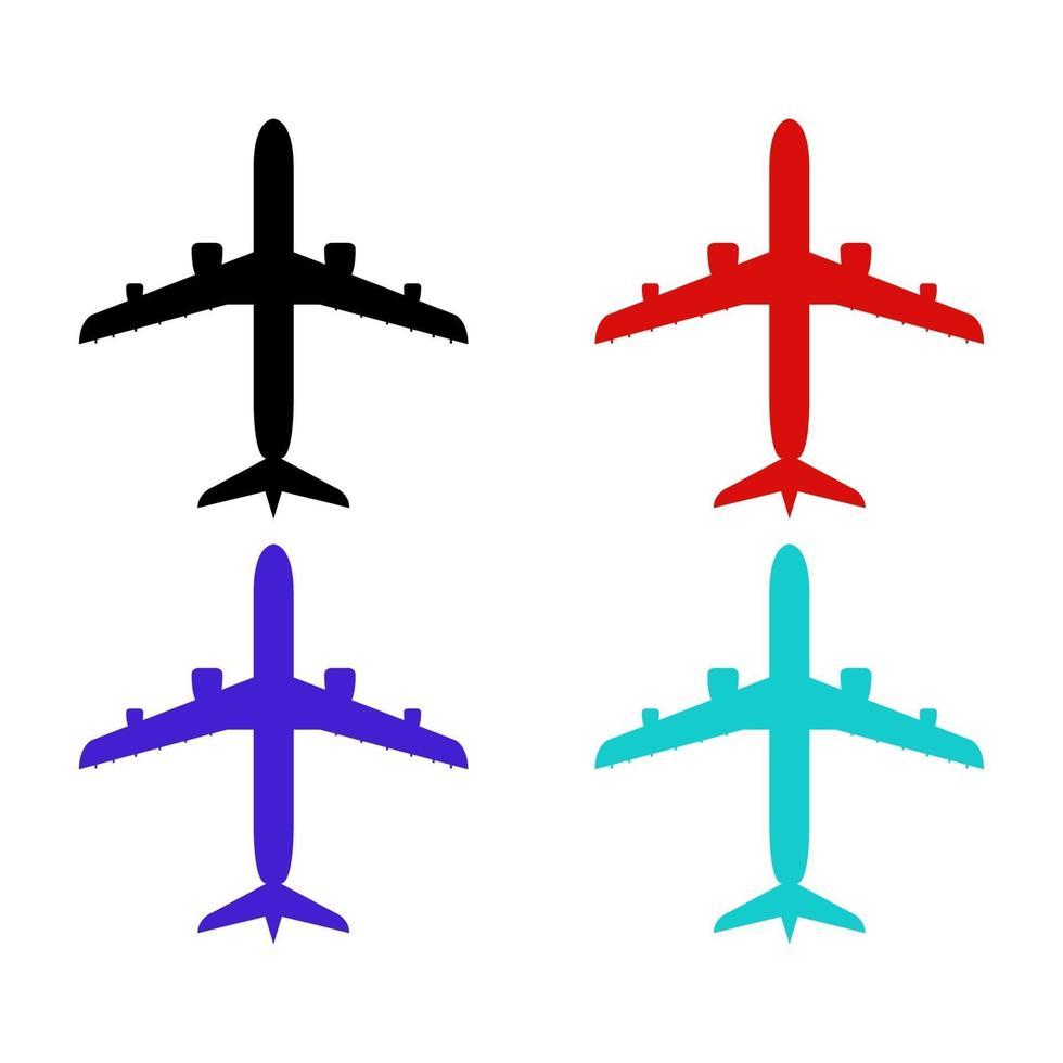 Conjunto de aviones sobre fondo blanco. vector