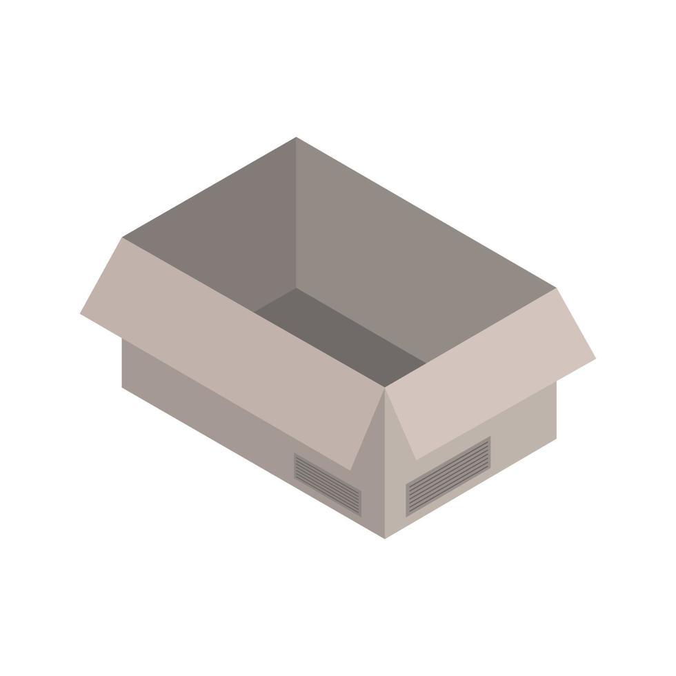caja isométrica sobre fondo blanco vector