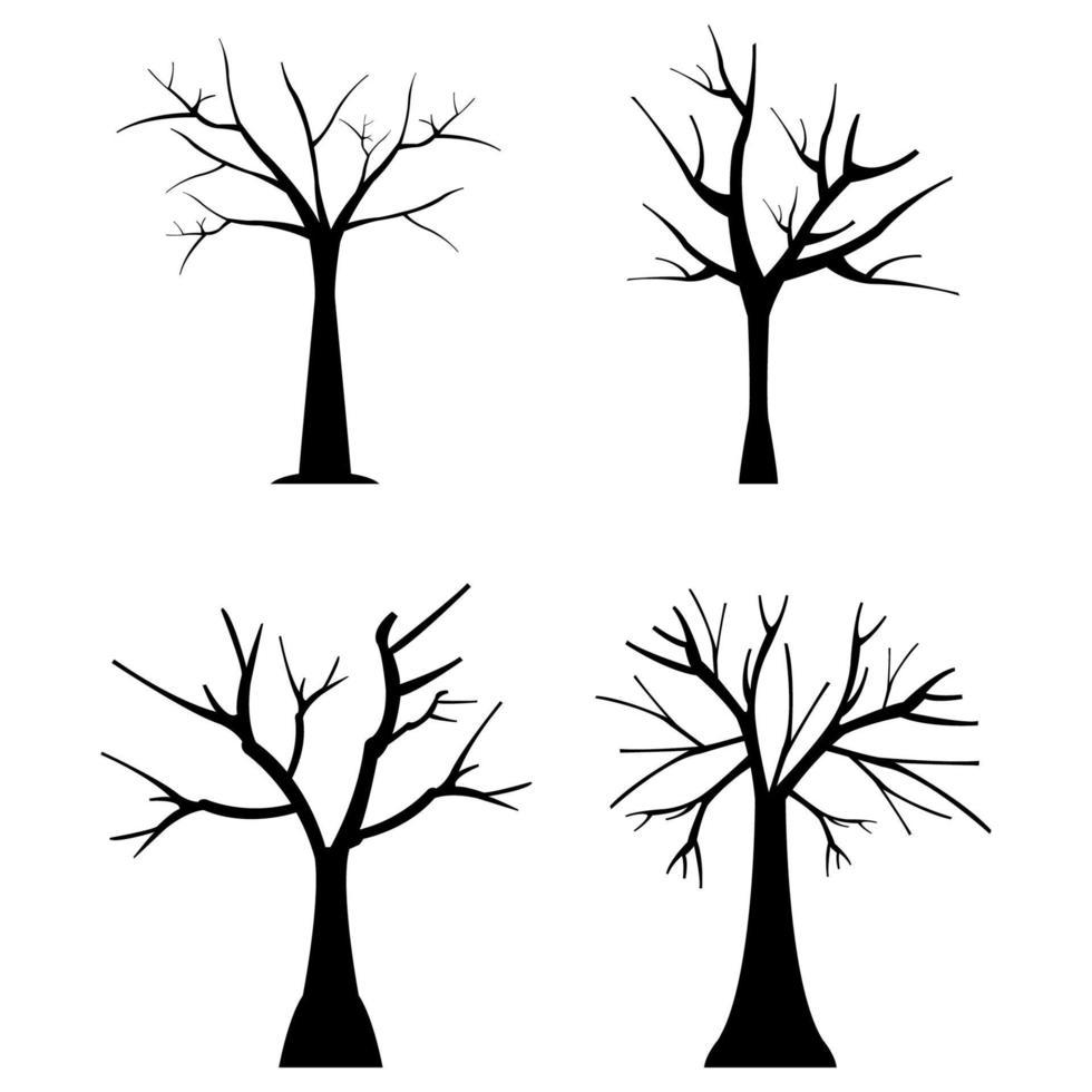 Conjunto de árboles secos sobre fondo blanco. vector