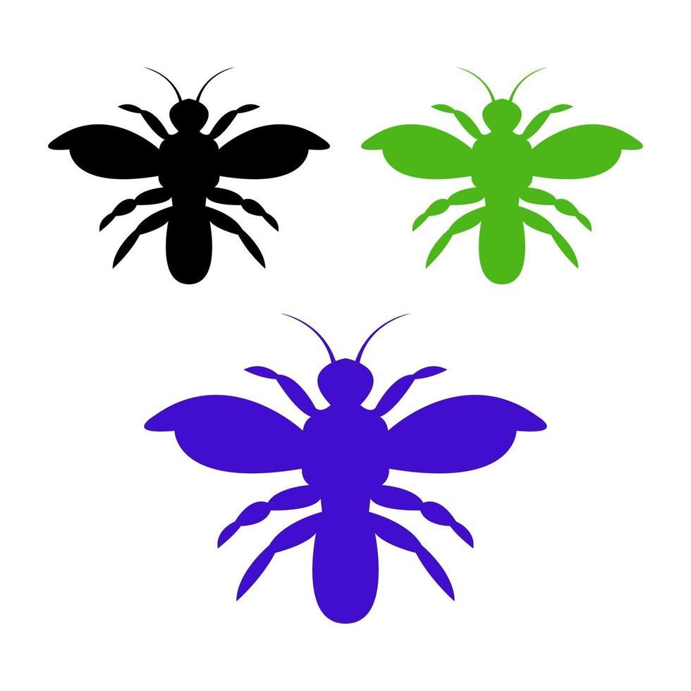 conjunto de abejas sobre fondo blanco vector