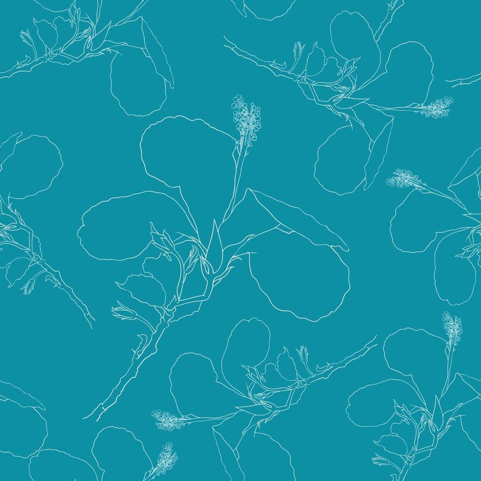verano tropical de patrones sin fisuras con flores de hibisco blanco sobre fondo verde aislado. ilustración vectorial dibujo a mano arte lineal. para el diseño de tejidos. vector