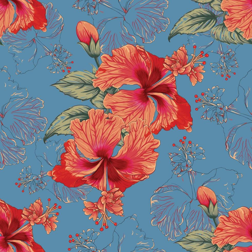 Seamless floral pattern Hibiscus flowers on abstract blue background. Vector illustration watercolor hand drawn.