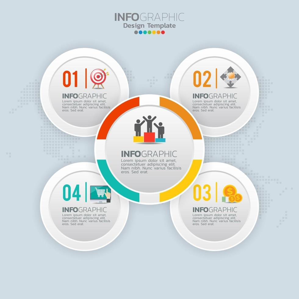 Business infographic elements with 4 options or steps vector