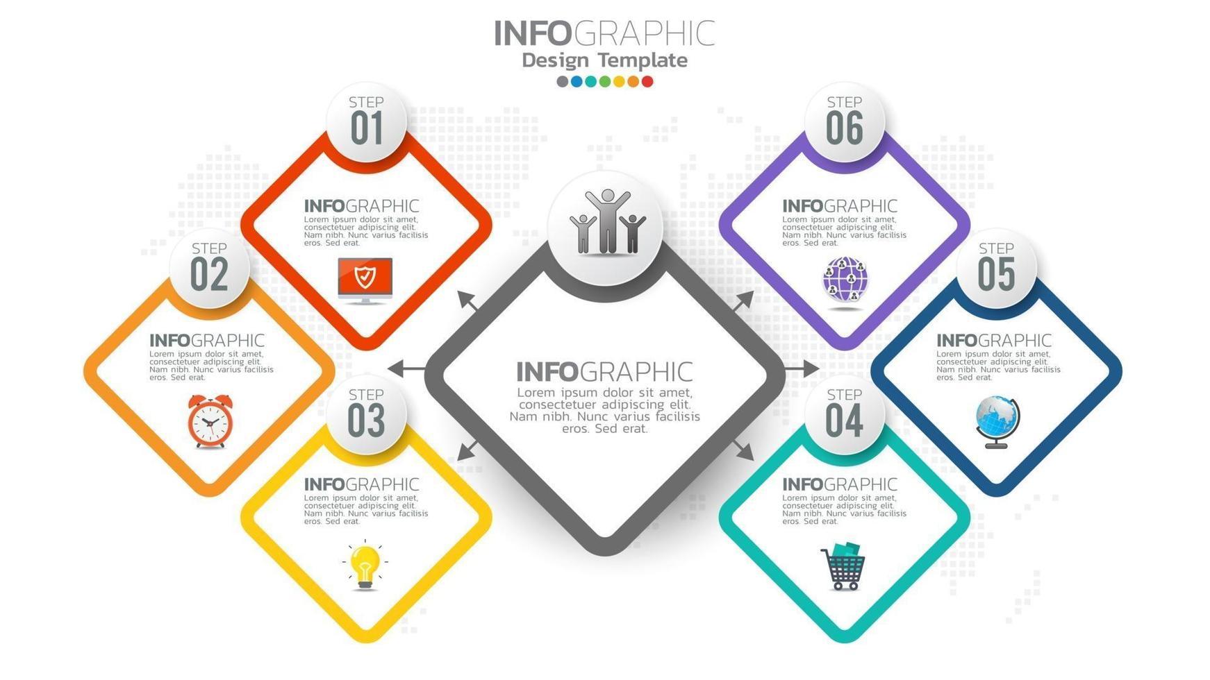 infografía elemento de color de 6 pasos con diagrama de gráfico circular, diseño de gráfico empresarial. vector