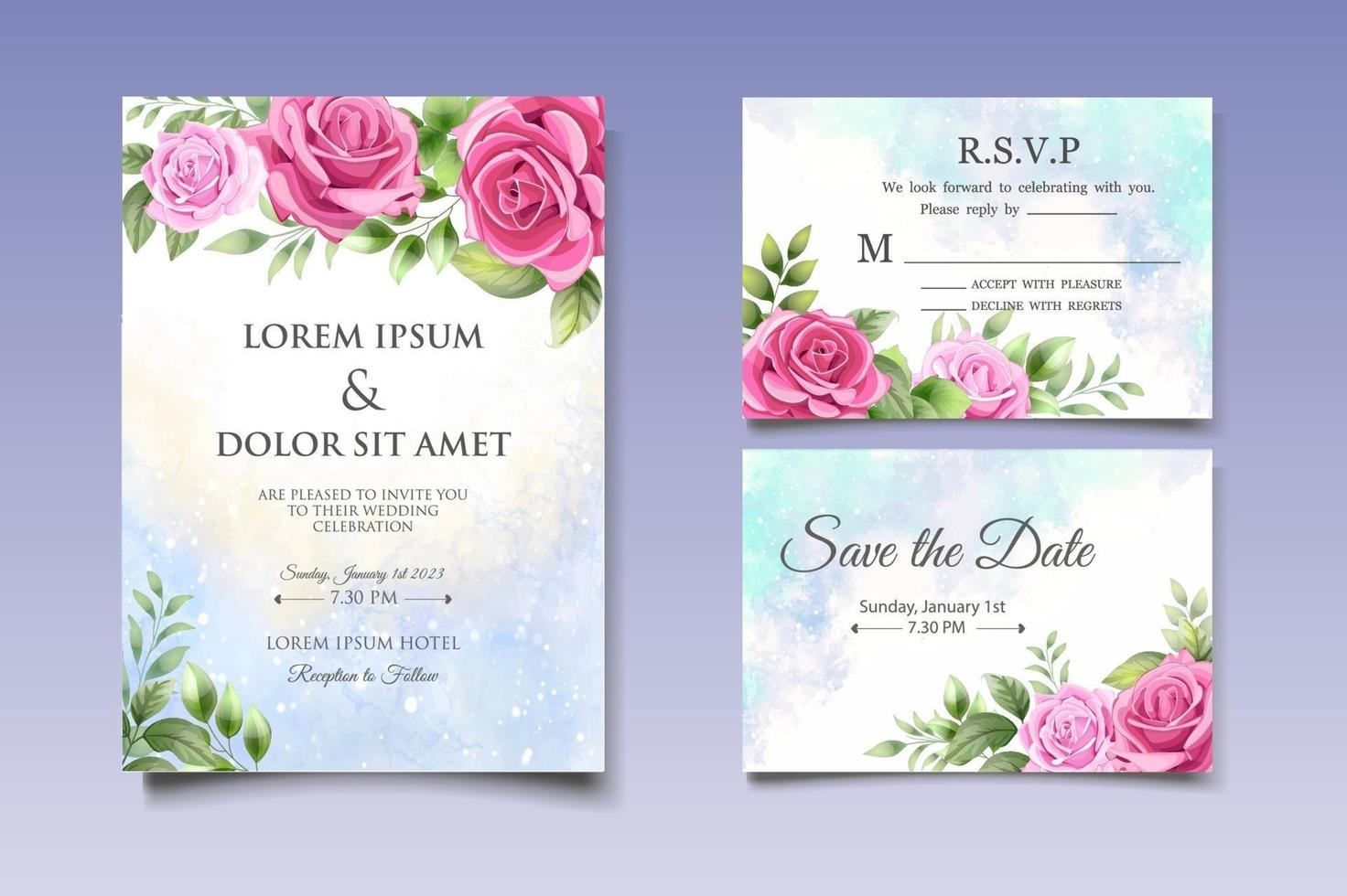 Wedding invitation card with beautiful flowers and leaves vector