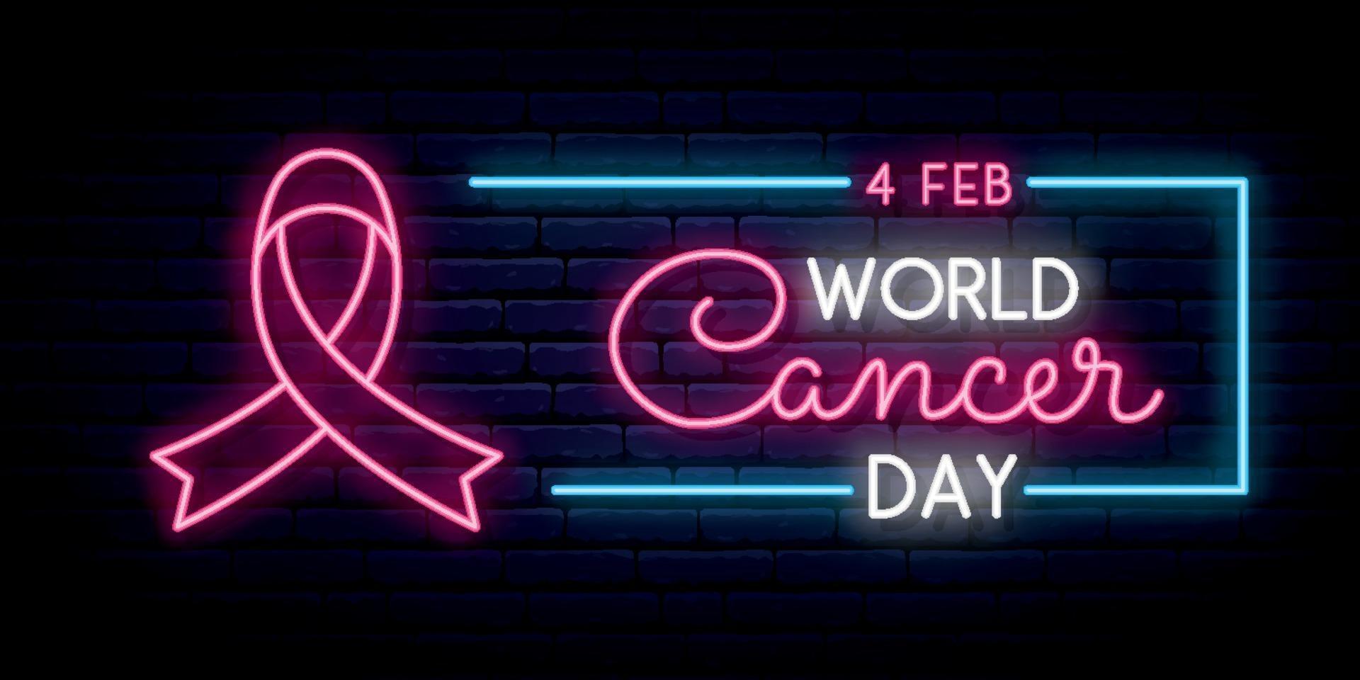 World cancer day. Long horizontal banner. vector