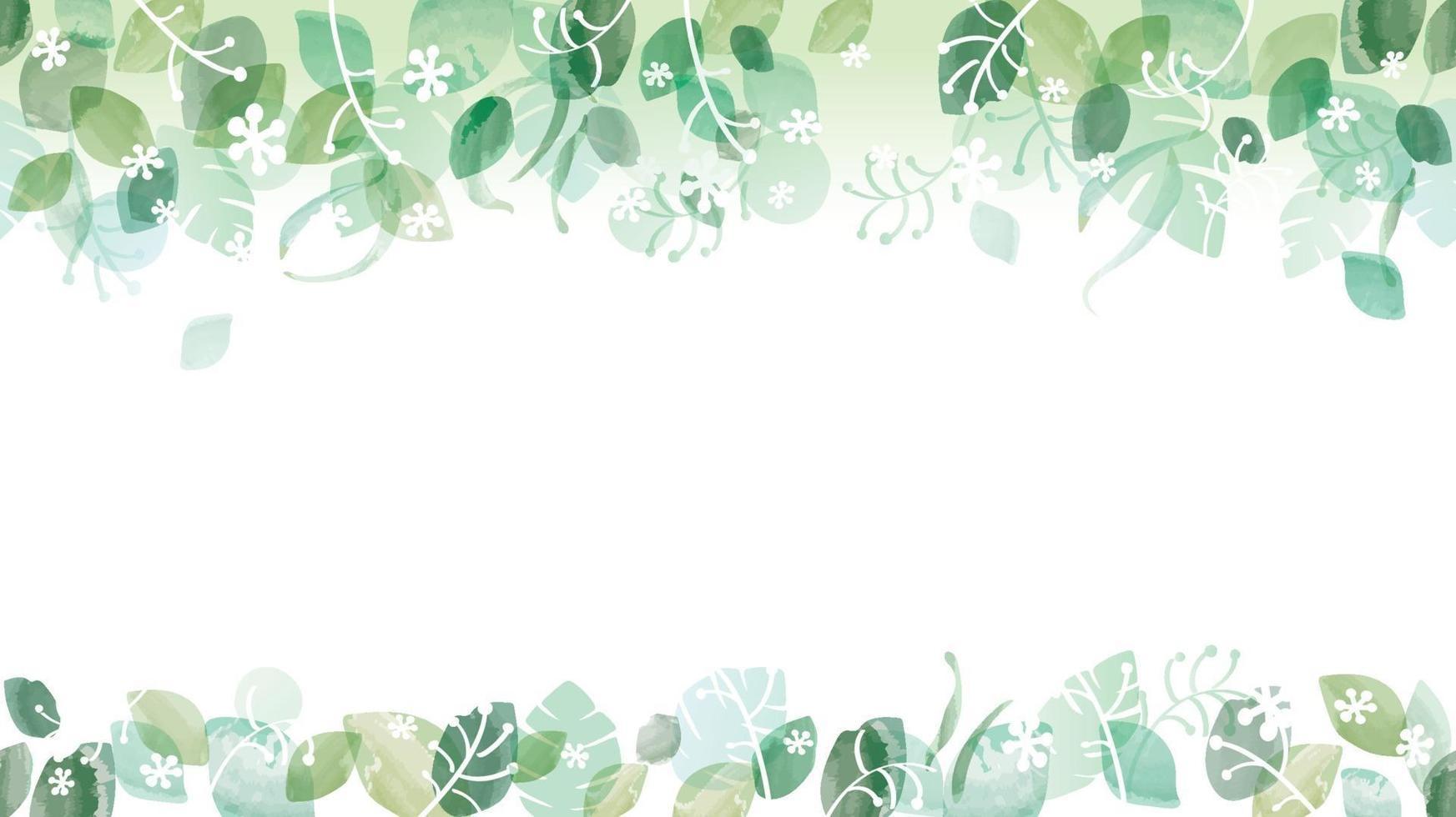 Fondo verde fresco acuarela transparente con espacio de texto, ilustración vectorial. vector