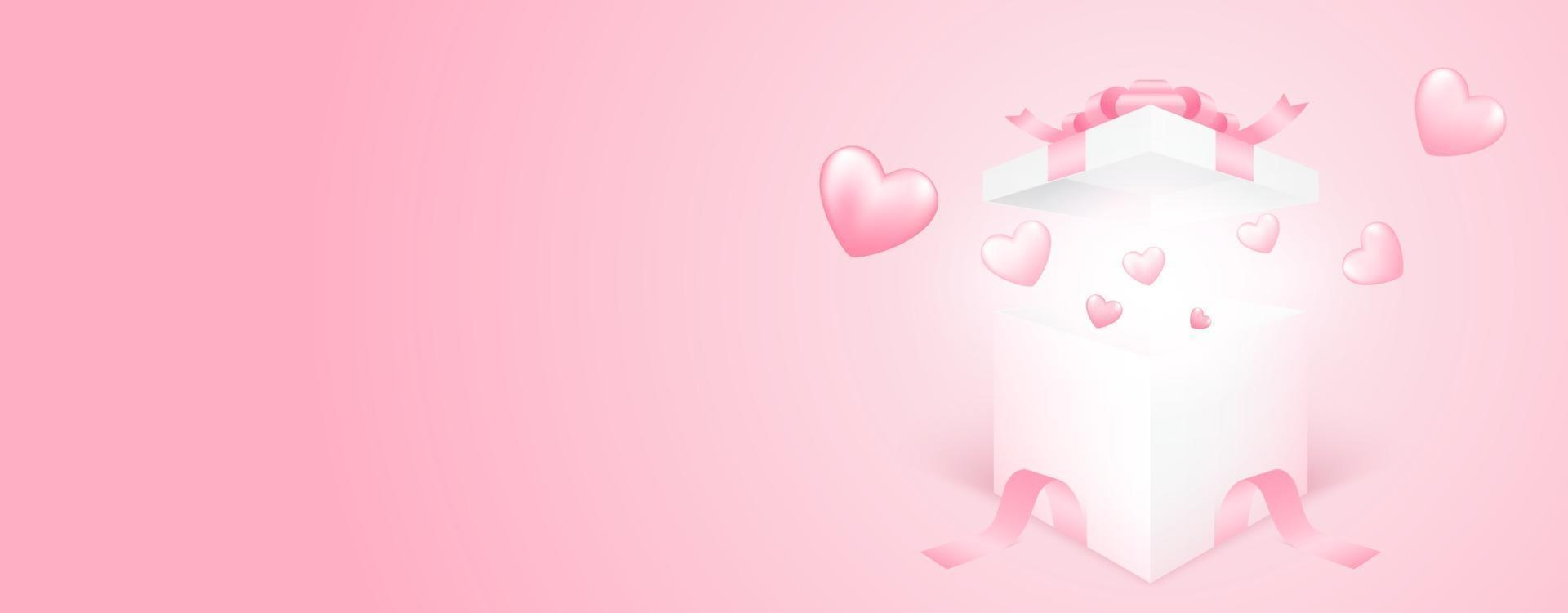3D gift box with heart flying on pink banner background. Love concept design for happy mother's day, valentine's day, birthday day. Paper art illustration. vector