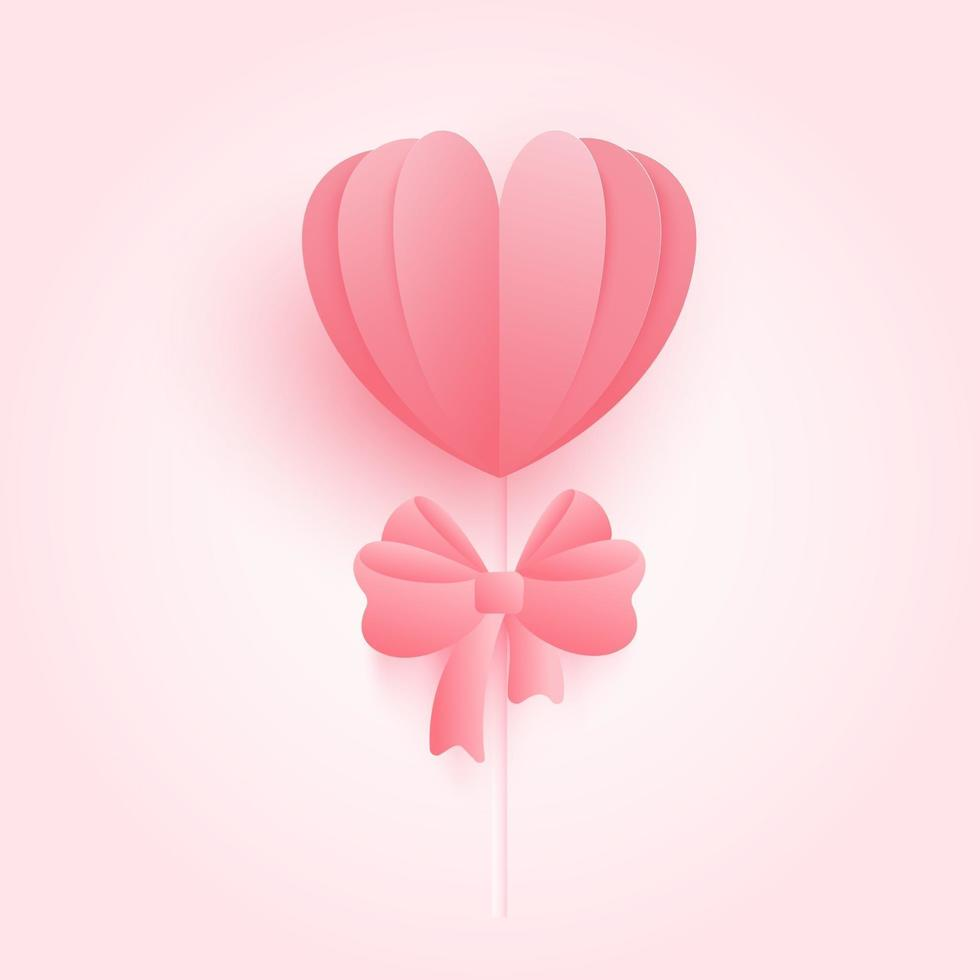 Web3D origami heart with pink ribbon Bow background. Love concept for happy mother's day, valentine's day, birthday day. vector paper art illustration.