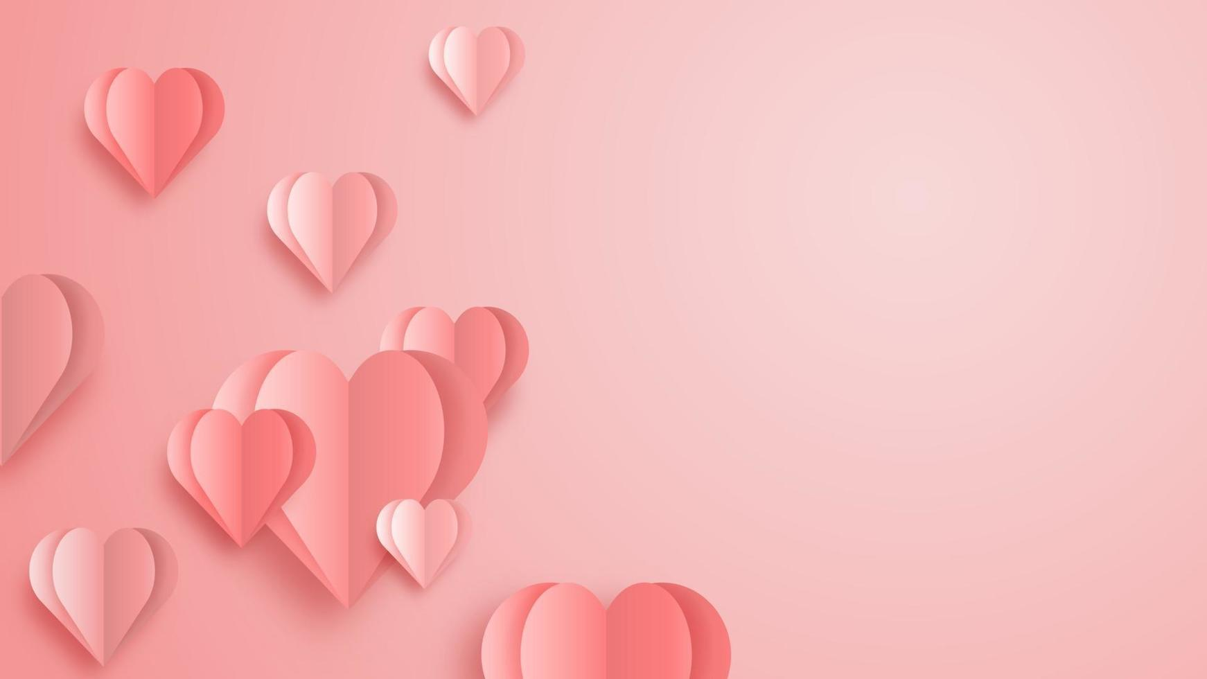 3D origami heart flying on pink background. Love concept design for happy mother's day, valentine's day, birthday day. Poster and greeting card template. vector paper art illustration.