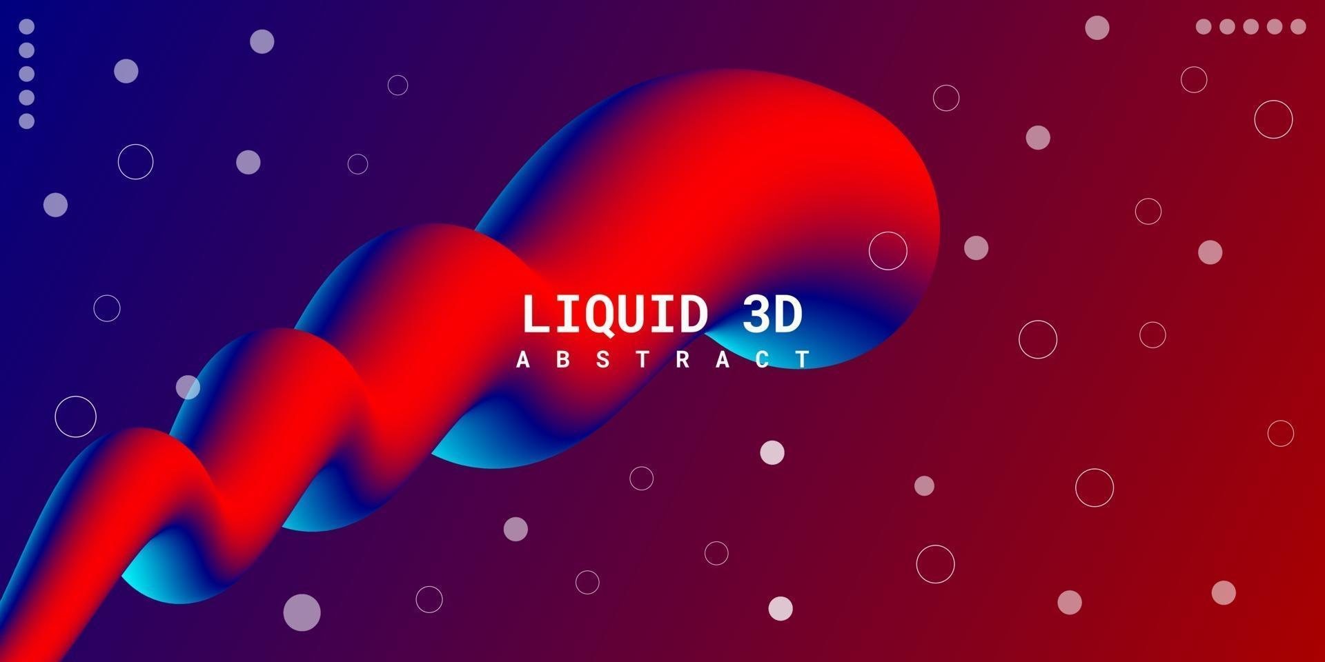 Modern abstract liquid 3d background with blue and red gradient vector