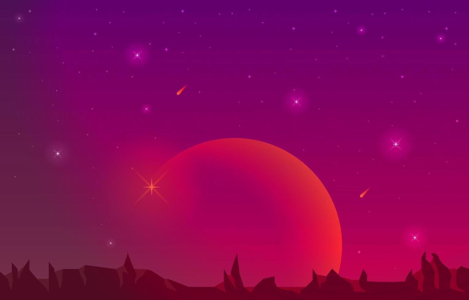 superficie del paisaje del planeta cielo espacio ciencia ficción fantasía ilustración vector