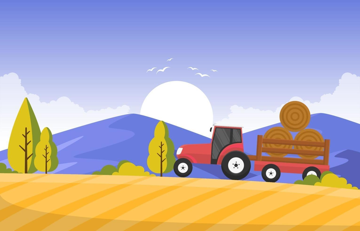Agriculture Wheat Field Farm Rural Nature Scene Landscape Illustration vector
