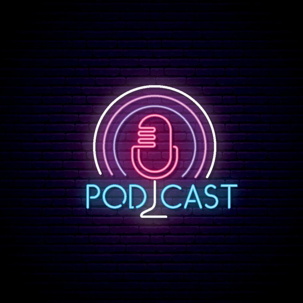 Microphone podcast neon sign vector