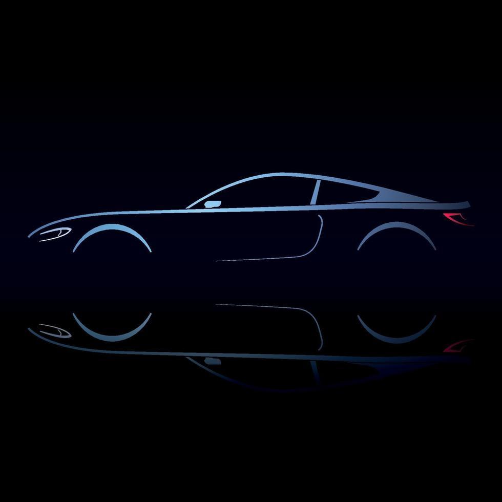 cupé de coche de diseño con reflexión sobre fondo negro. vector