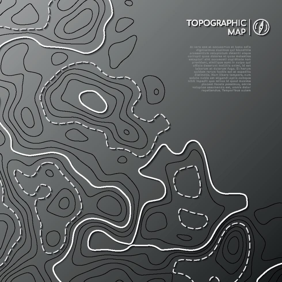 mapa de líneas topográficas. concepto de mapa topográfico abstracto con espacio de copia. vector