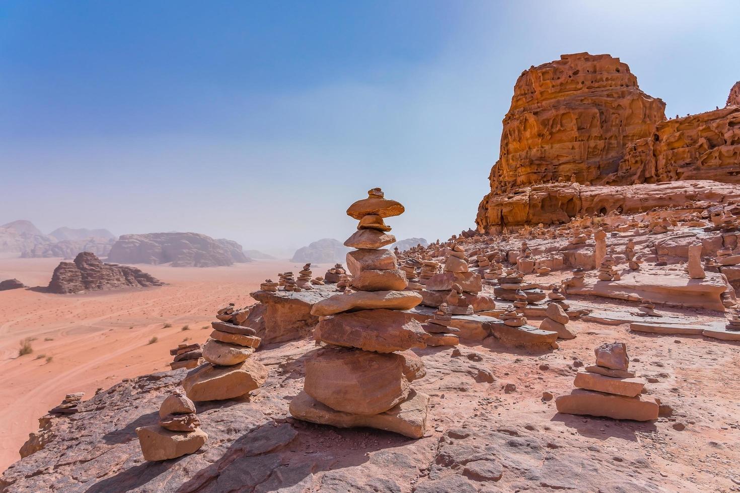 Red mountains of Wadi Rum desert in Jordan photo