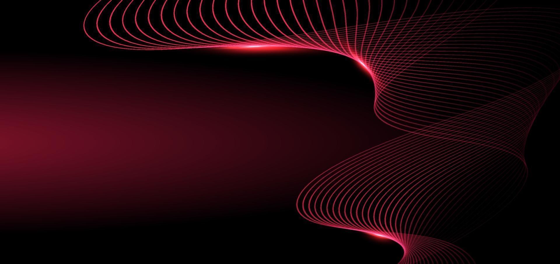 líneas rojas abstractas de la onda que brilla intensamente en fondo oscuro. concepto de tecnología. vector