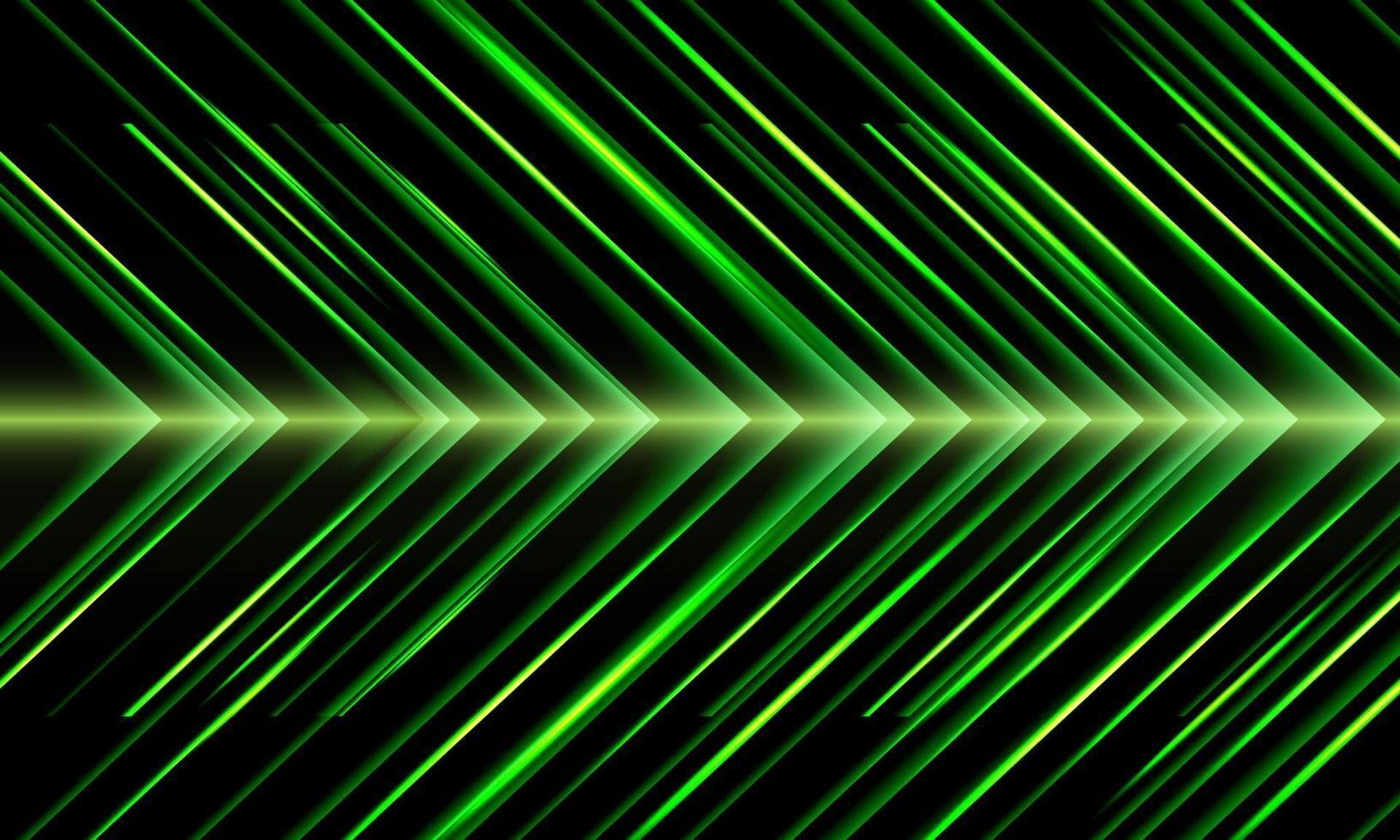 Resumen flecha verde luz dirección metálica velocidad patrón diseño moderno tecnología futurista fondo vector ilustración.