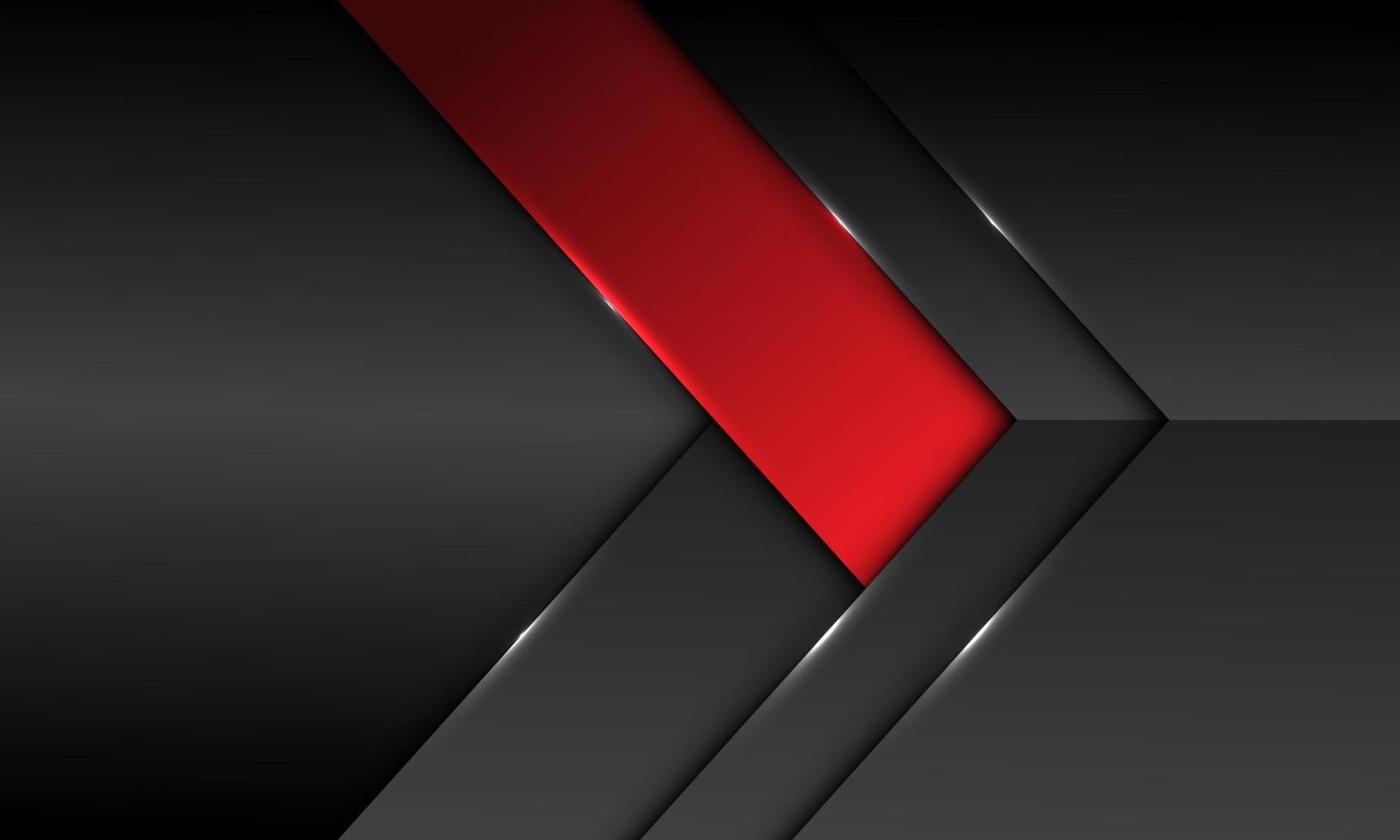Dirección de flecha de banner rojo metálico gris oscuro abstracto con diseño de espacio en blanco moderno fondo futurista ilustración vectorial. vector