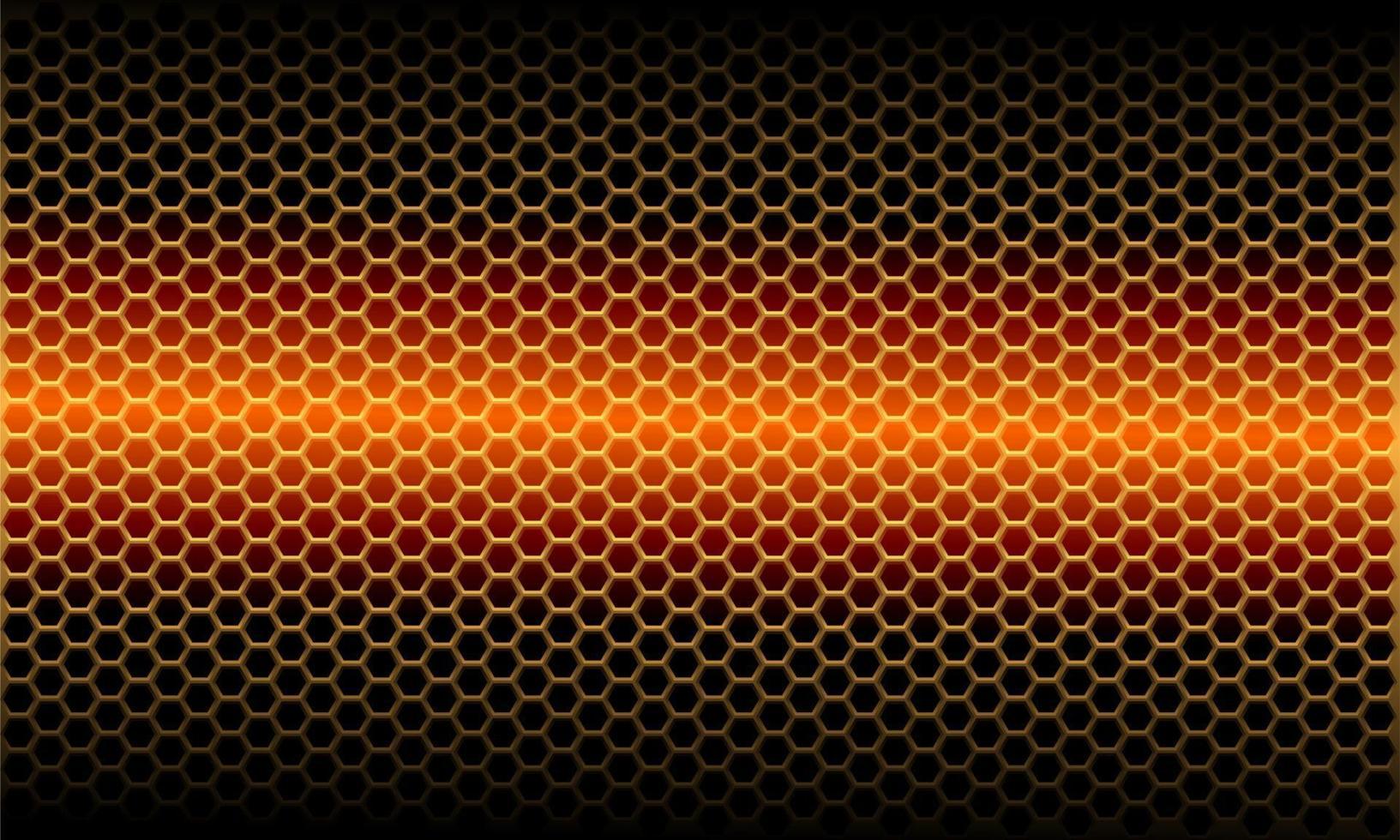 Patrón de malla hexagonal metálica ligera naranja abstracta en diseño negro moderno fondo futurista ilustración vectorial. vector