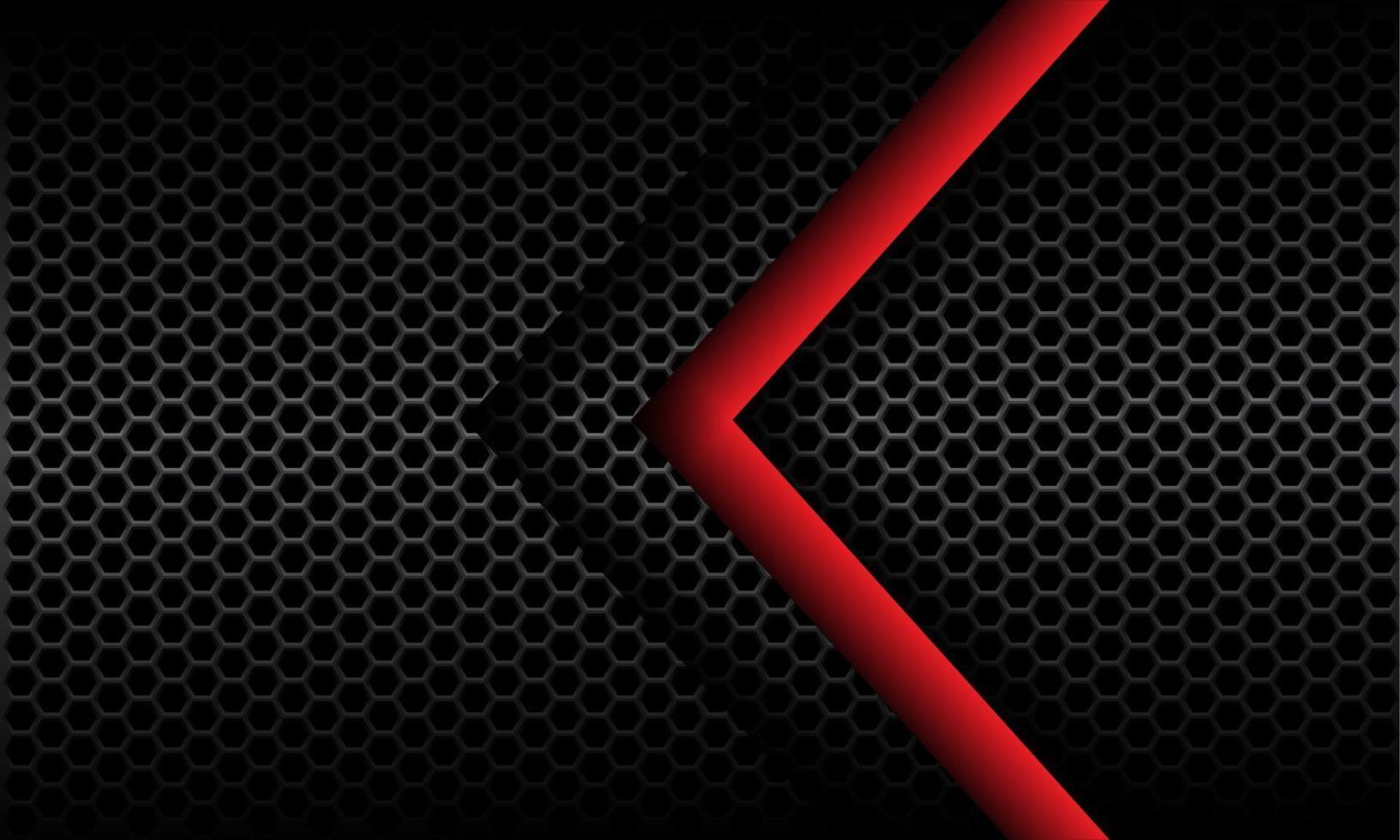 Dirección de la flecha roja abstracta en el ejemplo futurista moderno del vector del diseño del modelo de la malla del hexágono metálico gris oscuro.
