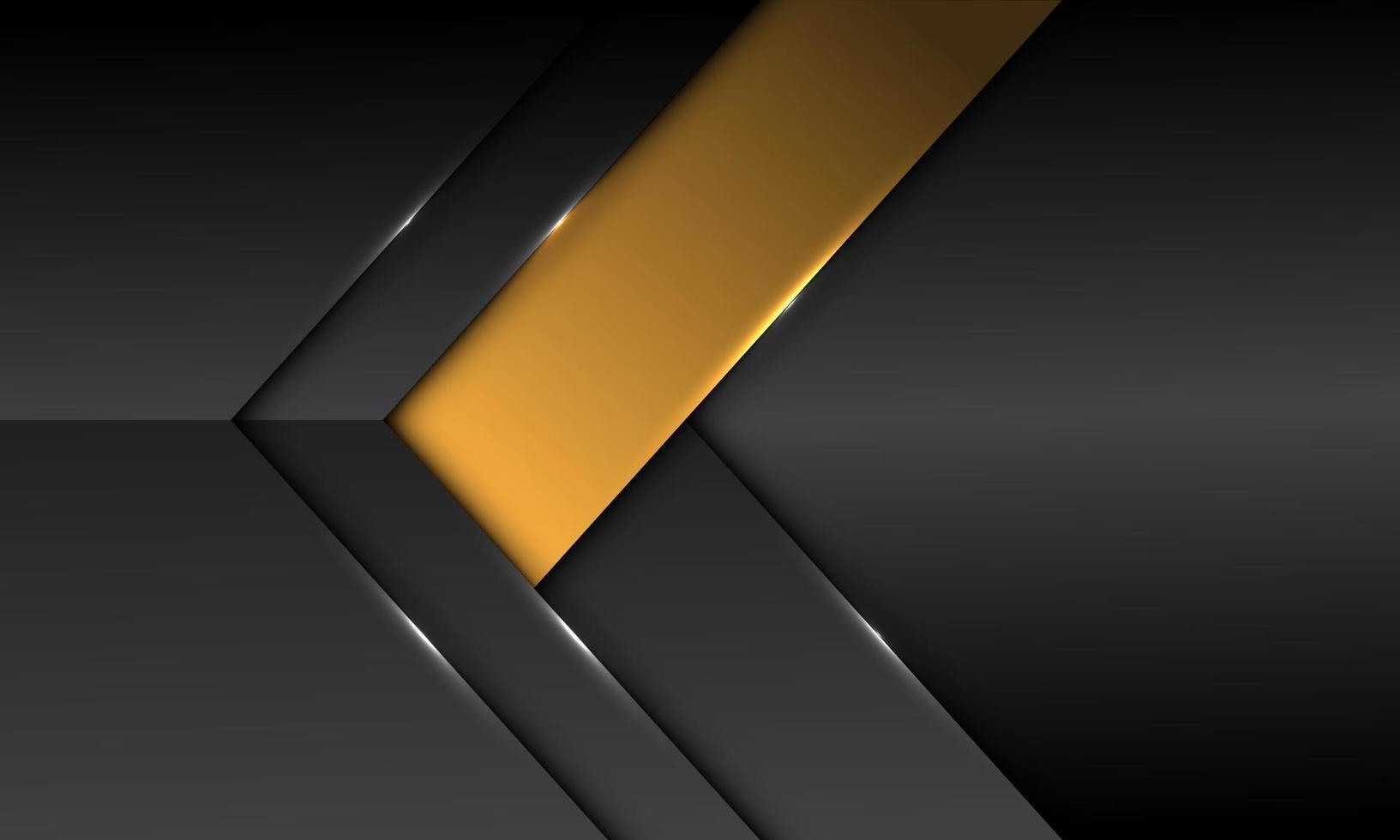 Dirección de flecha de banner amarillo metálico gris oscuro abstracto con diseño de espacio en blanco moderno fondo futurista ilustración vectorial. vector