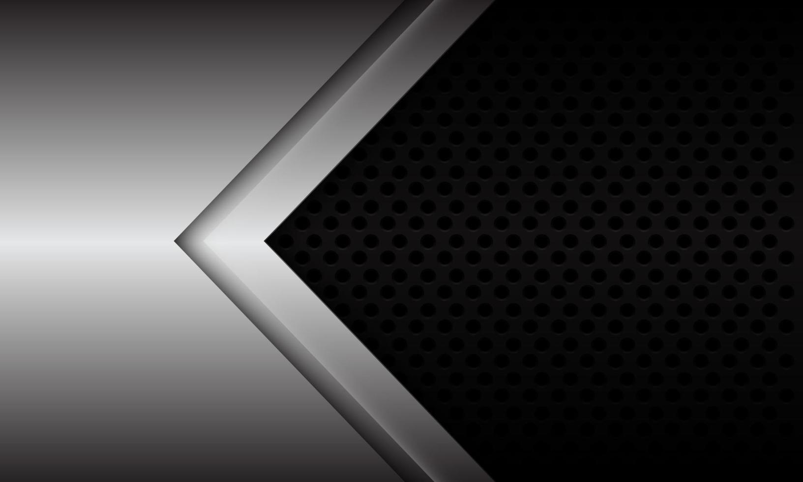 La dirección de la flecha de plata abstracta en el diseño de malla de círculo metálico negro moderno fondo futurista ilustración vectorial. vector
